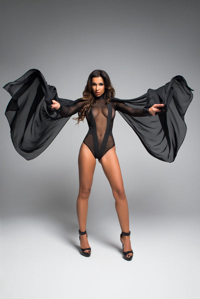 bodysuit, A1040 - Skye Irresistably Sheer Body With Enticing V Shape - Lavender's Dream
