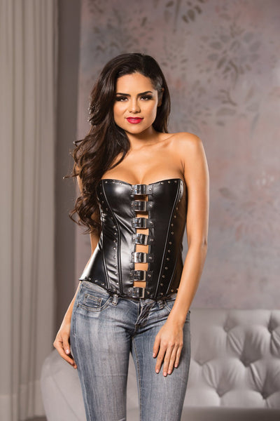 corset, 11-7055 - Faux Leather Front Buckle Corset - Lavender's Dream