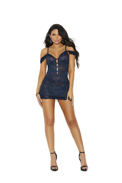 chemise, EM11021 - Off the shoulder lace underwire chemise with adjustable straps and hook & eye - Lavender's Dream