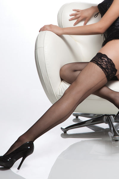 stockings, CQ1764 - 1 Pair. Fishnet Thigh High Stay Up Stockings With Silicone And Back Seam. - Lavender's Dream