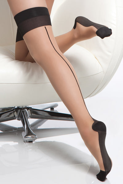 stockings, CQ1765 - 1 Pair. Sheer Contrast Cuban Heel Stockings With Back Seam. - Lavender's Dream