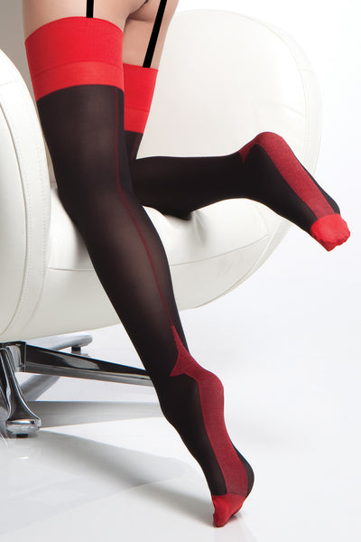 stockings, CQ1766 - 1 Pair. Opaque Contrast Cuban Heel Stockings With Back Seam. - Lavender's Dream