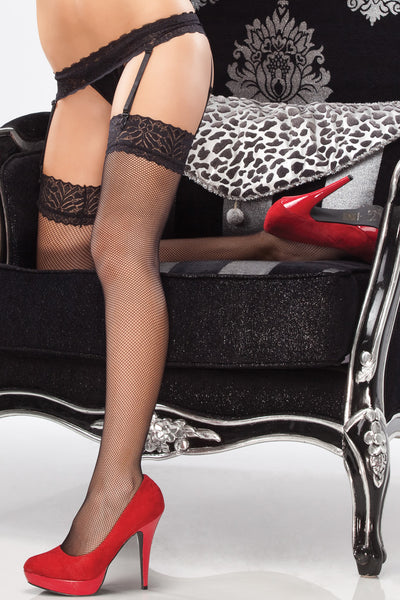 stockings, CQ1781 - 1 Pair. Fishnet Stockings With Lace Tops And Lace Garter Belt. - Lavender's Dream