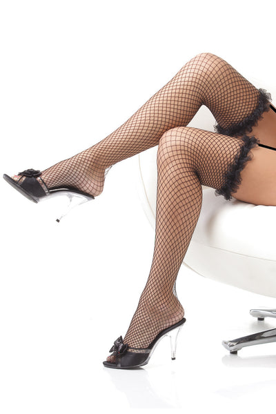 stockings, CQ1785 - 1 Pair. Thigh High Fishnet Stockings With Organza Ruffle. - Lavender's Dream