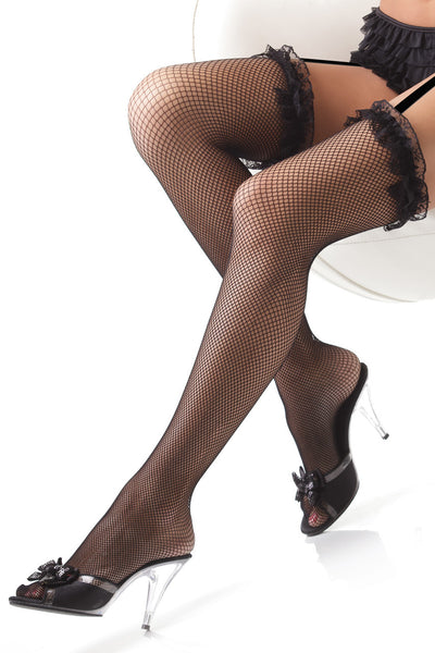 stockings, CQ1786 - 1 Pair. Thigh High Fishnet Stockings With Ruffled Lace. - Lavender's Dream