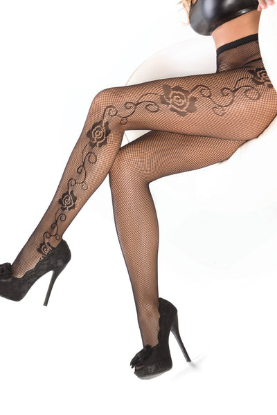 stockings, CQ1789 - 1 Pair. Fishnet pantyhose with side rose detail - Lavender's Dream