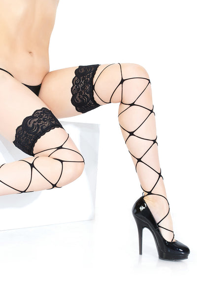 stockings, CQ1895 - 1 Pair. Stay-Up Thigh High Stringy Net Stocking With Silicone Lace Top. - Lavender's Dream