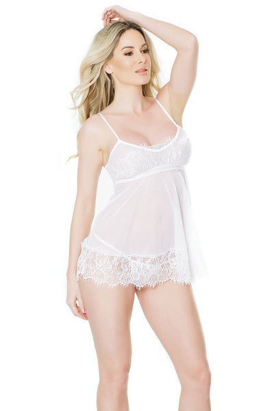 babydoll set, CQ2484 - Babydoll & G-String Set with Eyelash lace detailing on top & skirt - Lavender's Dream