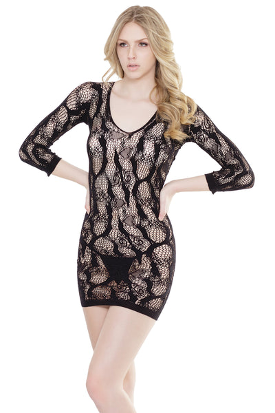 bodystocking, CQ2545 - Seamless Stretch Net Lace net dress with 3/4 sleeve, deep v-neck - Lavender's Dream