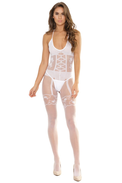 bodystocking, CQ2563 - Opaque and sheer print Crotchless bodystocking - Lavender's Dream