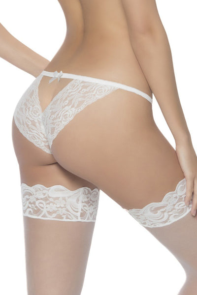 panties, 3128 - Open Back Tanga With Lace - Lavender's Dream