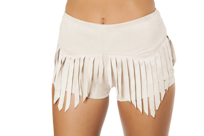 shorts, RM3407 Suede Shorts with Fringe Detail - Lavender's Dream