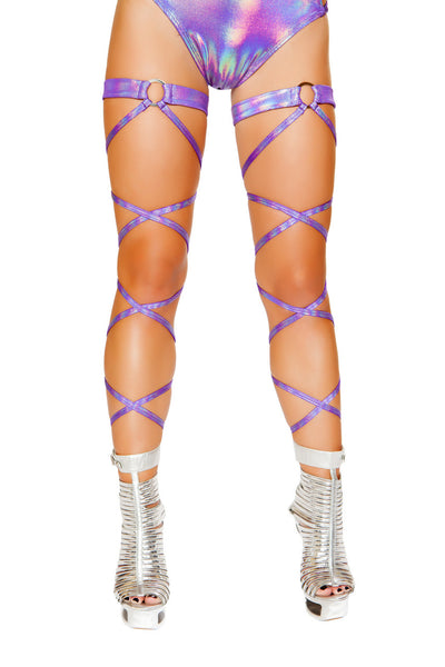 "leg wraps, RM3493 100"" Shimmer Leg Wrap with Attached O-Ring Garter - Lavender's Dream"
