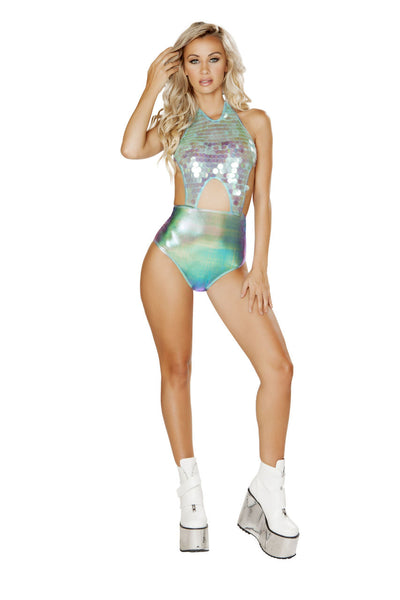 romper, RM3567 - 1pc Cut-Out, Two-Tone, Sequin Romper - Lavender's Dream