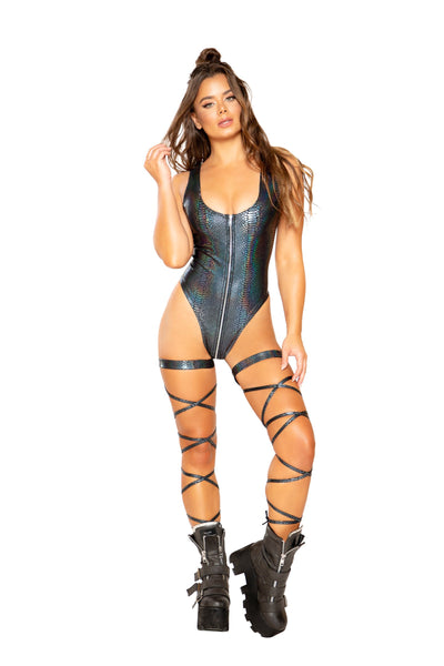 bodysuit, RM3685 - Snake Skin Romper with Zipper Closure - Lavender's Dream