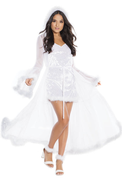 robe, CQ3880 - Hooded Full Length Robe with Bell sleeves & Faux fur tinsel trim - Lavender's Dream