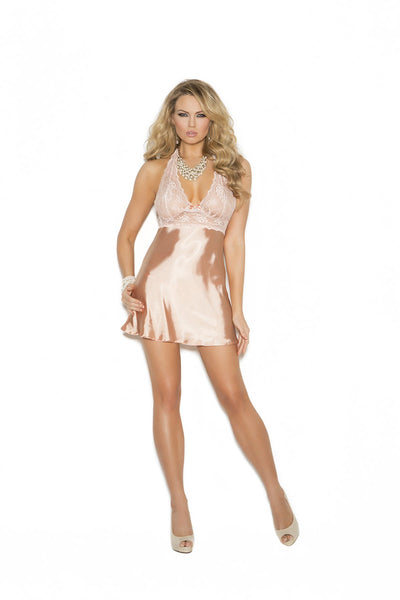 babydoll set, EM4312 - Lace and charmeuse halter neck babydoll & matching g-string - Lavender's Dream