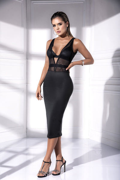 gown, MP4542 - Midi dress with plunging neckline & sheer mesh top - Lavender's Dream