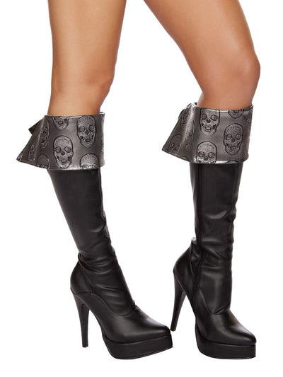 boot cuffs, RM4572B Skull Embroidered Boot Cuffs - Lavender's Dream