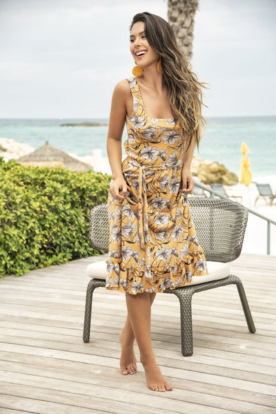 beach dress, MP4643 - Semi-Long Sun Dress with Beautiful Sunshine Floral Print - Lavender's Dream