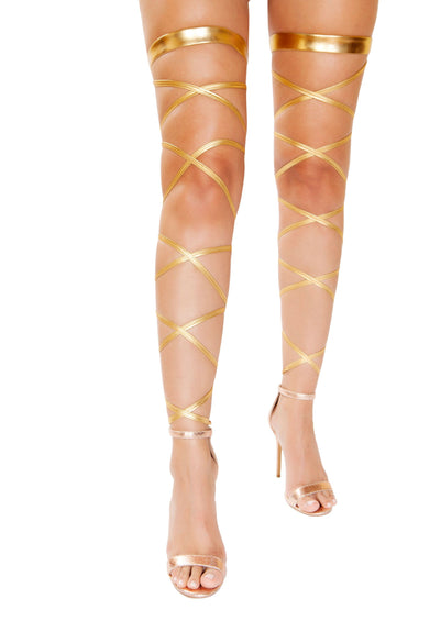 leg wraps, RM4929 - Metallic Gartered Leg Wrap - Lavender's Dream