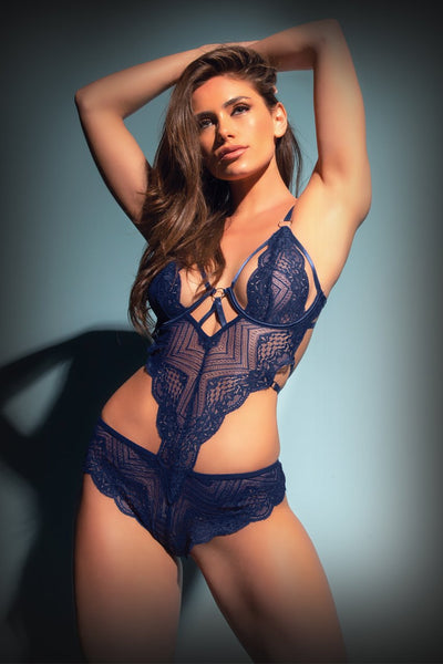 teddy, 51-11074 - Geometric Lace Teddy With Strap And Ring Details - Lavender's Dream
