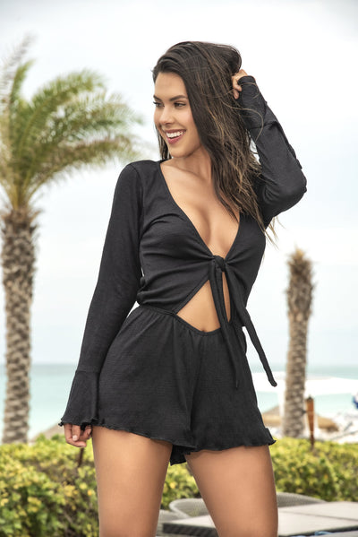beach romper, MP5754 - Beach Romper with Cutout and Front Tie Top - Lavender's Dream