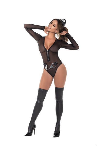 bedroom costume, MP6389 - Police costume with bodysuit, headpiece and cuffs - Lavender's Dream