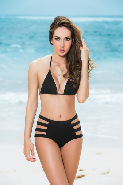 bikini bottoms, MP6853 - Strappy bikini brief with high waist and cutouts on either side - Lavender's Dream
