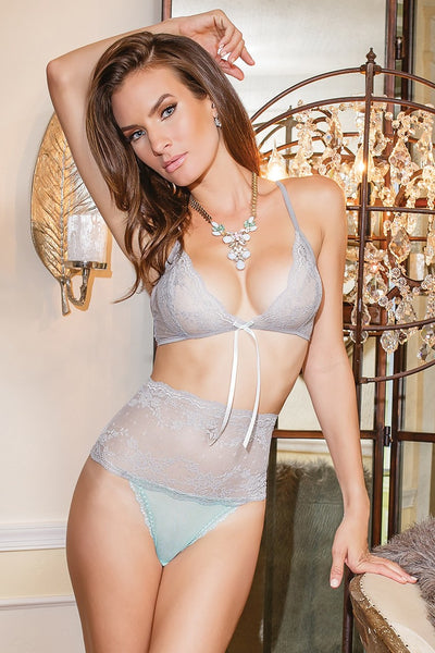 bra & panty set, CQ7055 - 2 Pc. Scalloped Stretch Lace Bra Top And Matching High Waisted Lace And Mesh Crotchless Panty - Lavender's Dream