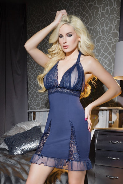 chemise, CQ7084 - 1 Pc. Microfiber And Scalloped Stretch Lace Peek-A-Boo Cup Chemise - Lavender's Dream