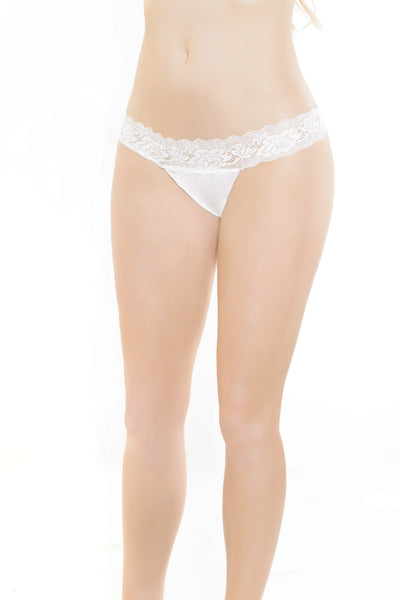 panties, CQ7123 - 1 Pc.  Stretch Lace Thong With Scalloped Stretch Lace Waistband - Lavender's Dream
