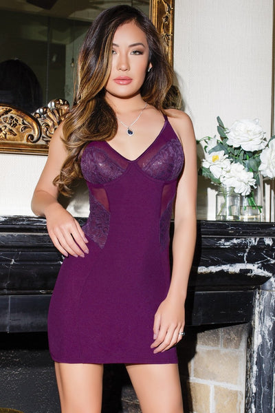 chemise, CQ7125 - 1 Pc. Stretch Knit Chemise With Sheer And Scalloped Lace - Lavender's Dream