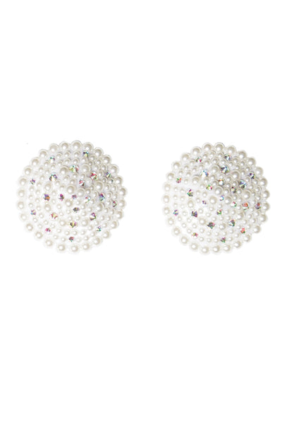 pasties, CQ7256 - Pearl and Rhinestone Encrusted Round Pasties with Reusable self adhesive back - Lavender's Dream
