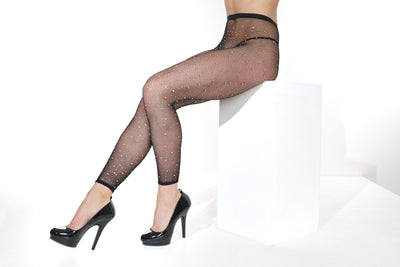 stockings, CQ7258 - Seamless Stretch Net Footless Fishnet Pantyhose with rhinestone embellishments - Lavender's Dream