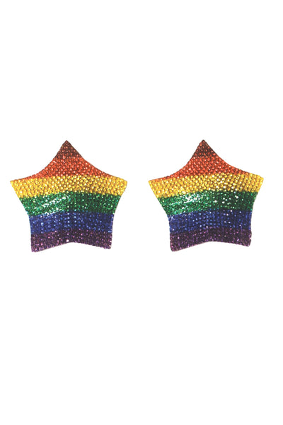 pasties, CQ7265 - Rainbow Rhinestone Star Pasties with Reusable self adhesive back - Lavender's Dream