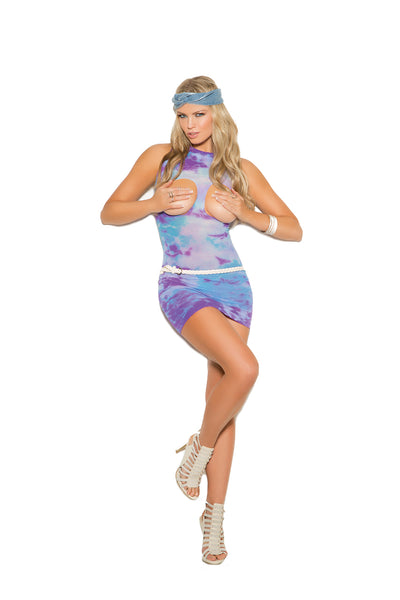 mini dress, EM82017- Sexy Opaque Cupless Mini Dress Lingerie - Lavender's Dream
