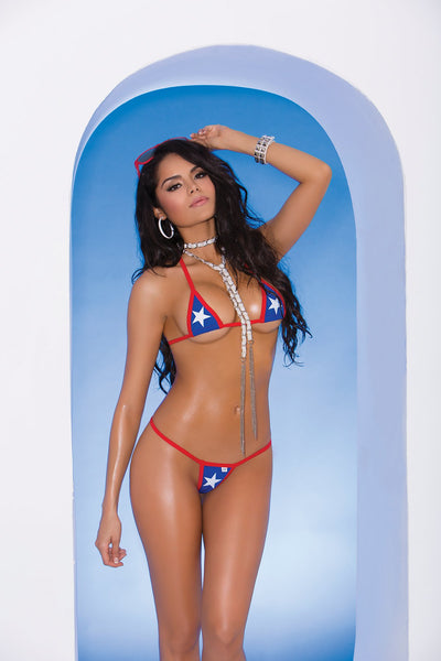 bikini set, EM82052 - Lycra bikini top and matching g-string with red trim and star detail - Lavender's Dream