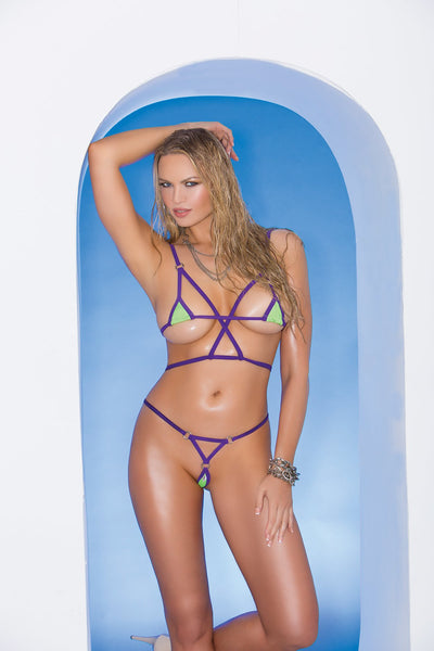 bikini set, EM82103 - Lycra bikini top and matching g-string with purple trim - Lavender's Dream
