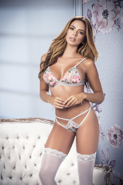 garter set, MP8348 - 3PC Floral bralette, thong and garter strap harness set - Lavender's Dream