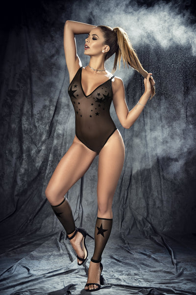 bedroom costume, MP8385 - 4PC Star mesh bodysuit, leg warmers & mask set - Lavender's Dream