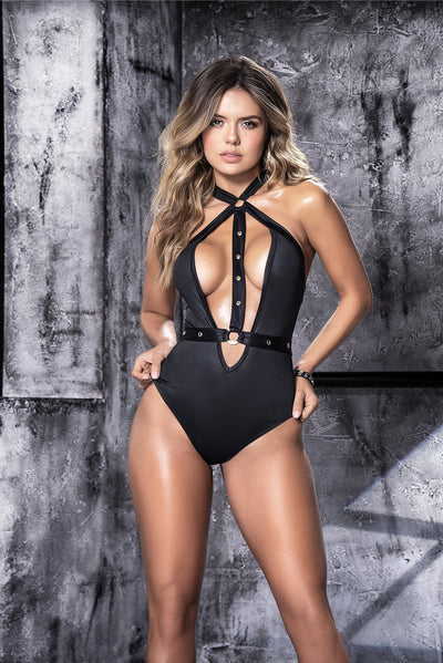bodysuit, MP8513 - Wet look bodysuit with attached harness - Lavender's Dream