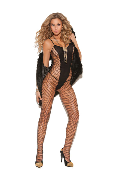 bodystocking, EM8748 - Diamond net and opaque bodystocking with open crotch - Lavender's Dream