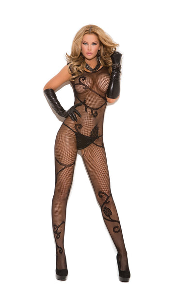 bodystocking, EM8911 - Fishnet bodystocking with scroll pattern and open crotch - Lavender's Dream