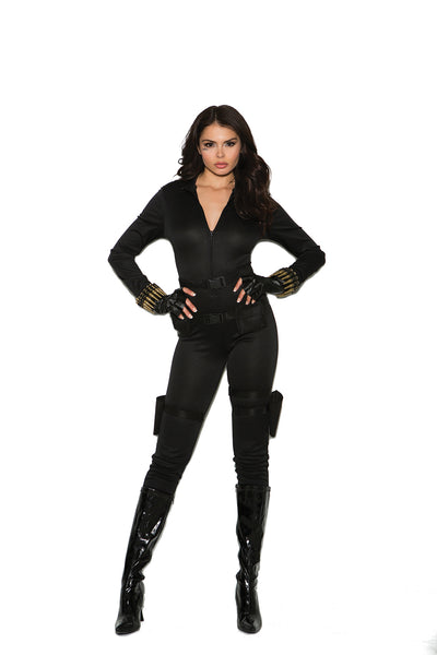 womens costume, EM99062 - Secret Agent - 5 pc. Sexy Women's Costume includes jumpsuit, belt, utility belt with holsters, bullet bracelets and fingerless gloves - Lavender's Dream