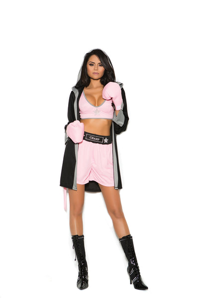 womens costume, EM99070 - Prizefighter - 4 pc. Sexy Women's Costume includes top, shorts, hooded robe and gloves - Lavender's Dream