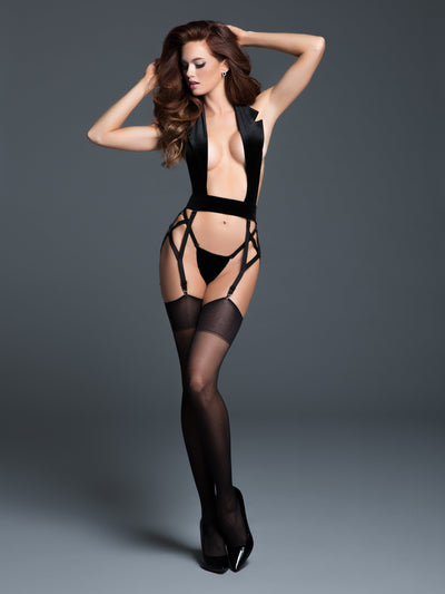 bustier, A1047 - Leia Le Petite Smoking Little Black Tuxedo With Garters - Lavender's Dream