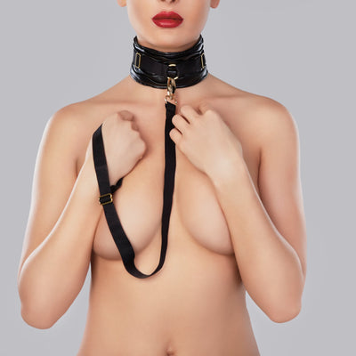 bondage set, A1068 - Wide Butter Soft Ruched Faux Leather Collar With Leash - Lavender's Dream