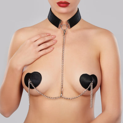 pasties, A1085 - Adore Collar With Detachable Heart Pasties - Lavender's Dream