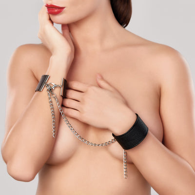 bondage set, A1087 - Adore Wrist Cuffs With Connector Chain - Lavender's Dream